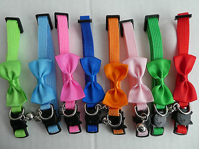 Plain Coloured Collar with Bow, Cat Safety Release Collar with Bell