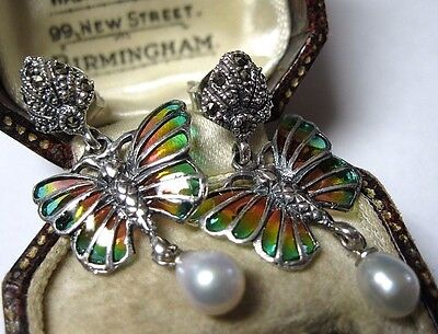 Solid Silver Vintage Style Plique A Jour Marcasite Butterfly Pearl Drop Earrings