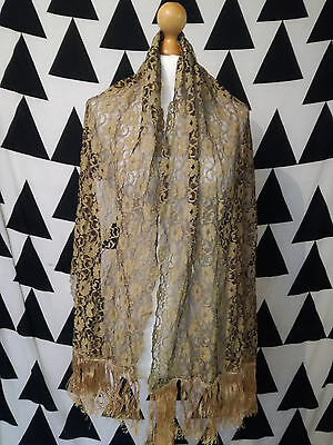 VINTAGE 20s / 40s 50s FLAPPER floral large gold lace fringed scarf shawl wrap