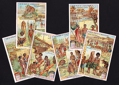 Six Old Advert Adverting Trade Cards with New Guinea illustrations in design