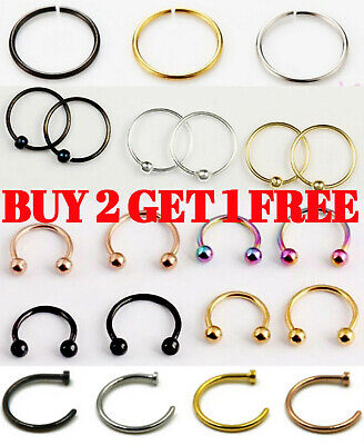Septum Nose Clicker Ring Hoop Horseshoe Barbell Bar Tragus Helix Ear Piercing