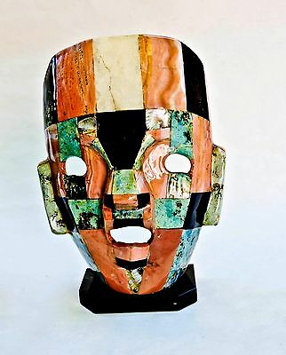 Mexican Mayan Folk Art Mosaic Mask Marble Abalone  Mother Of Pearl