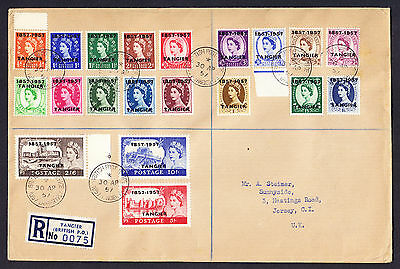1957 QEII Great Britain Tangier ovptd Morocco stamps incl. Castles on regd cover