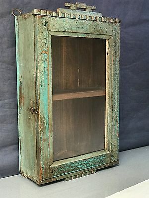 Antique/vintage, Indian Teak Display/bathroom Cabinet. Art Deco, Faded Teal.