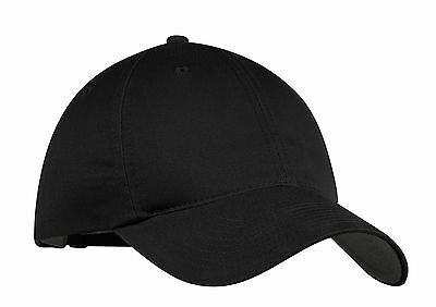 New-Nike Golf-Black Unstructured Adjustable-Swoosh On Back-Baseball Cap-Dad Hats