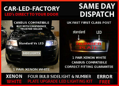 Ford Fiesta Mk 6 2002-2008 Led Upgrade Kit Sidelights & Number Plate Set 4 Bulb