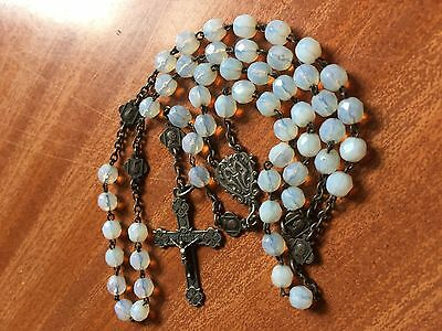 Lovely  antique Pale Blue opaque Faceted Rosary with bronze medallions & cross