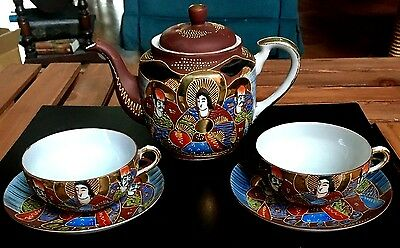 Vintage Asian Japanese Kutani Eggshell Porcelain Tea Cups, Saucers, & Teapot