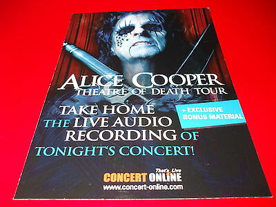 Alice Cooper - 2009 Theatre Of Death Uk Tour Concert Usb Double Sided Flyer