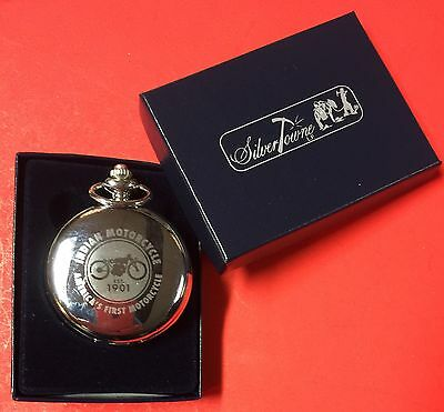 Indian Motorcycle Silver-Tone Logo 12S Hunter Pocket Watch ~ Ships Free!