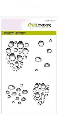 Craft Emotions A6 Clear Stamps - Water Drops - 1257 - Rain - Cardmaking - NEW IN