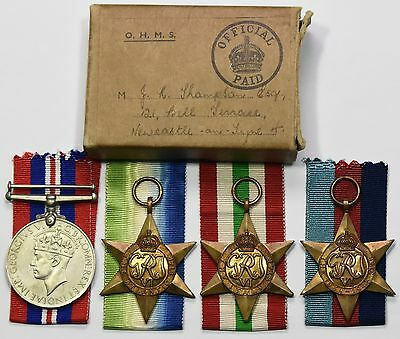 WW2 Medal Group Of 4 1939-45 Star, Italy Star, Atlantic Star And War Medal