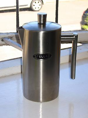 Stellar SM11 Double Wall Insulated 8 Cup Matt Stainless Steel Coffee Cafetiere
