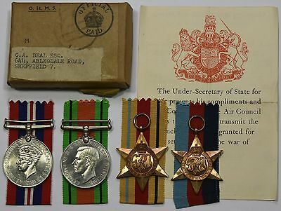 WW2 Medal Group Of 4 1939-45 Star, Africa Star, Defence Medal And War Medal
