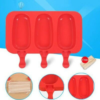 3 Cell Frozen Ice Cream Pop Mold Popsicle Maker Lolly Mould Tray Pan Kitchen DIY