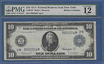 "1914 $10 ""new York"" Burke&houston ♚Star♚ ♚Star♚ Pmg Fine 12"
