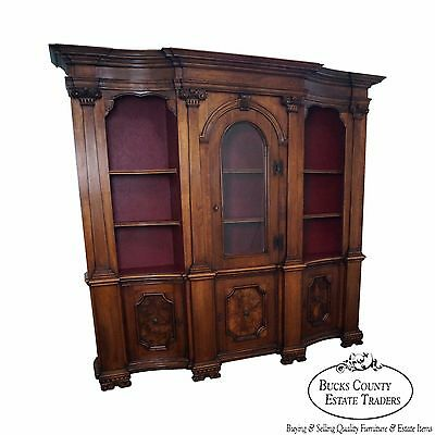 Large Italian Burl Walnut Architectural Bookcase