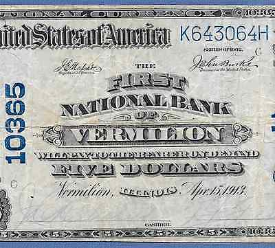 Il  1902 $5  ♚♚Vermilion,illinois♚♚   Very Hard To Find