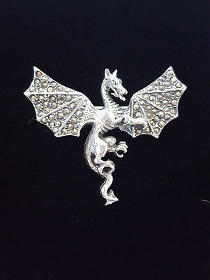 Dragon Brooch Marcasite Sterling Silver Jewelry Targaryen Sigil Game of Thrones