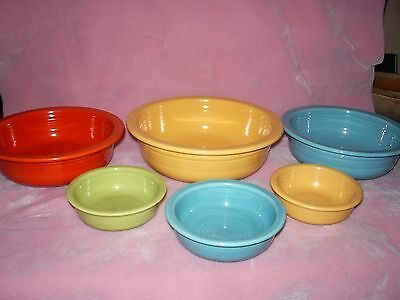 "(6) Vintage Fiesta Nappy Fruit Bowls, 9 1/2"" Yellow, 8 1/2"" Red & Turquoise Plus"
