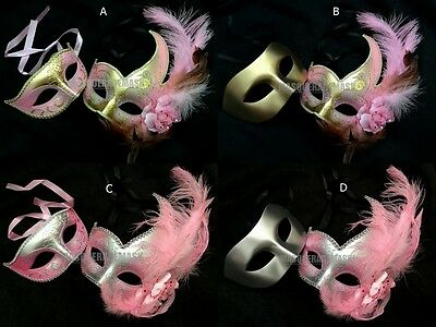 Feather Pink Masquerade ball mask pair Princess  Quincea?ra Party Costume Prom