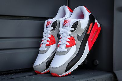 NIKE AIR MAX 90 Premium Mesh GS Youth sz 6.5 Athletic Shoes 724882-100 infrared