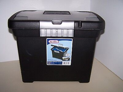 Sterilite file box letter size with organizer lid and handle black