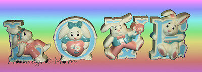 BURWOOD - Bunny Rabbit LOVE Letters - EASTER or Bedroom Decor- Hang OR Stand