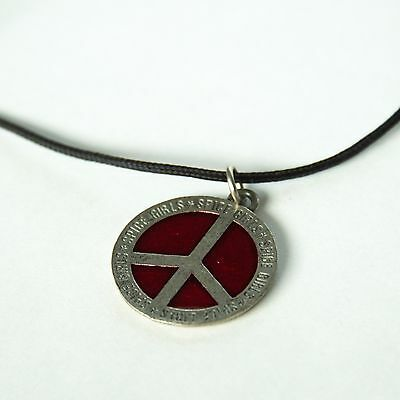 Spice Girls '98 Big Tours Peace Sign Circle Red Necklace - Vintage 1998 - Rare