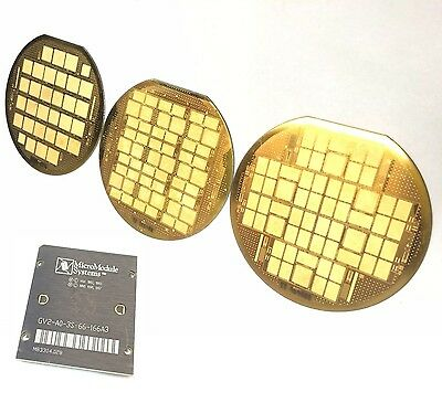 "SET/LOT 3x GOLD 6"" WAFERS + 1 CPU: MICROMODULE SYSTEMS GEMINI OLD VINTAGE IC MCM"