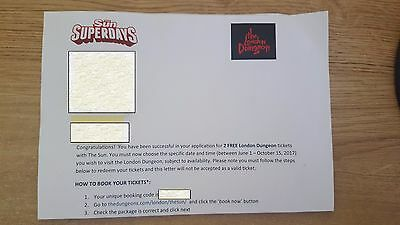 The London Dungeon 2 Tickets (June 1st - October 15th 2017)