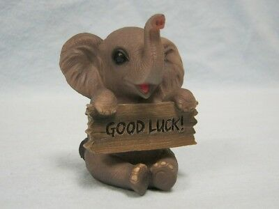 Trunk of Love Elephant with GOOD LUCK Sign Figurine Statue