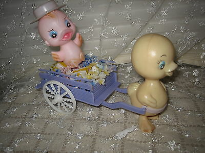 Vintage Plastic Blow Mold Baby Chics Ducks W/wagon Easter Spring Display