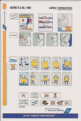 Airline safety card - consigne sécurité AVRO RJ 85/100 version SN Brussels airl.