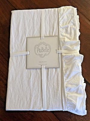 "PIUBELLE 100% Cotton TABLECLOTH 60"" X 120"" White SHABBY Cottage Chic RUFFLE NWT"