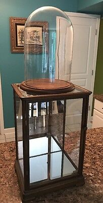 Antique Wood & Glass Table Top Showcase Collectible Cabinet Display Case