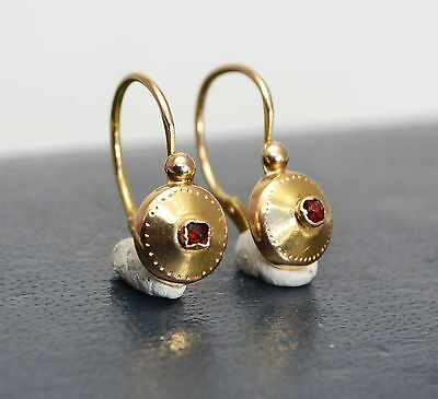 Antique FRENCH 18ct Yellow Gold & Garnet? Ruby? DORMEUSE Earrings - Edwardian