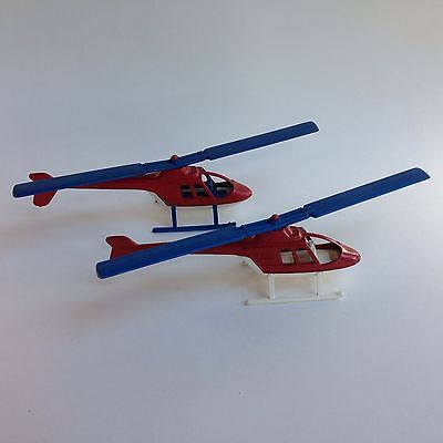 2 Different 1970s Vintage Tootsie Toy Helicopter Metal and Plastic