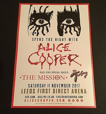 Alice Cooper With Guests The Mission Tour Flyer Leeds 11/11/2017