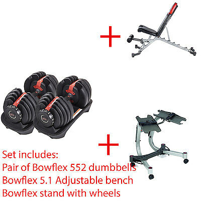 Complete set of Bowflex 552 Adjustable Dumbbell Bench Stand
