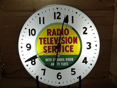 Original 1950's Sylvania Radio Tubes Lighted Pam Style Advertising Clock Sign
