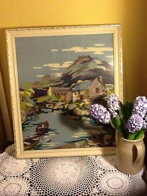 Beautiful Vintage Hand Made Framed Tapestry -fishing harbour scene #990