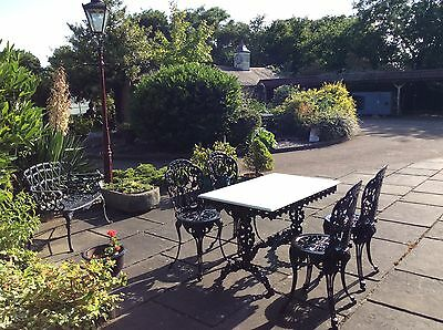 Superior Cast Iron/marble conservatory garden furniture table chairs patio set