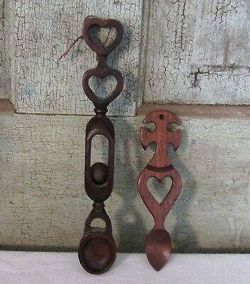 2 Vintage Hand Carved WELSH LOVE CHAIN SPOON Treen Carved 1 w Moving Ball NICE
