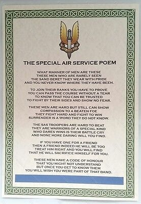 SAS Special Air Service Poem Special Forces British Army Military Regiment