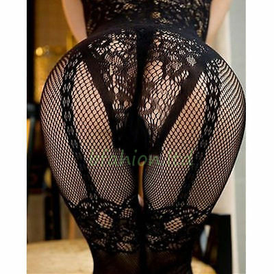 Plus Size UK 6-12 Fishnet Bodystocking Lingerie Catsuit Tights Honeymoon Nightie