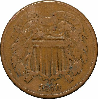 1870 Two Cent Shield Piece VG