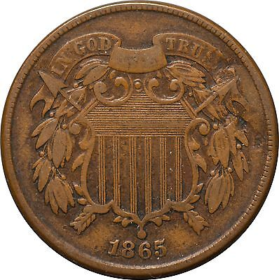 1865 Two Cent Shield Piece F/VF