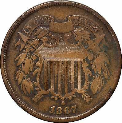 1867 Two Cent Shield Piece VG