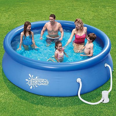 "Summer Escapes 10' x 30"" Quick Set Round Above Ground Swimming Pool with Filter"